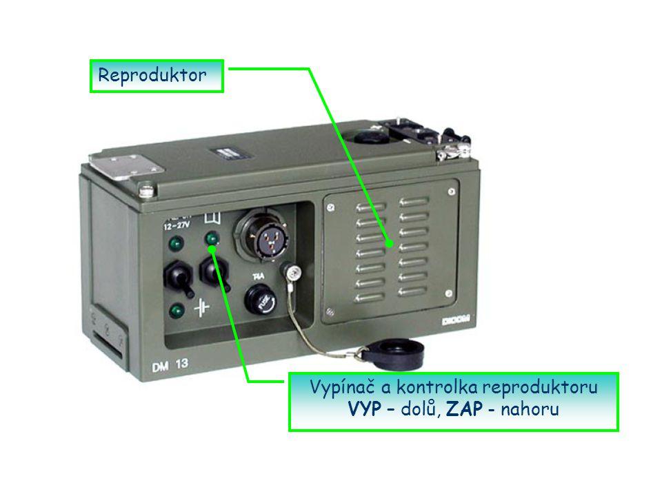 Vypínač a kontrolka reproduktoru