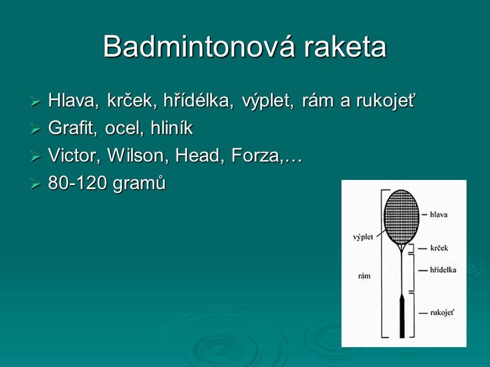 Badmintonová raketa Hlava, krček, hřídélka, výplet, rám a rukojeť