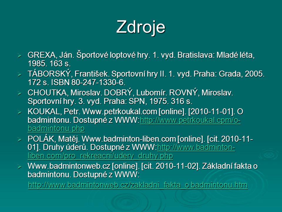 Zdroje GREXA, Ján. Športové loptové hry. 1. vyd. Bratislava: Mladé léta, 1985. 163 s.