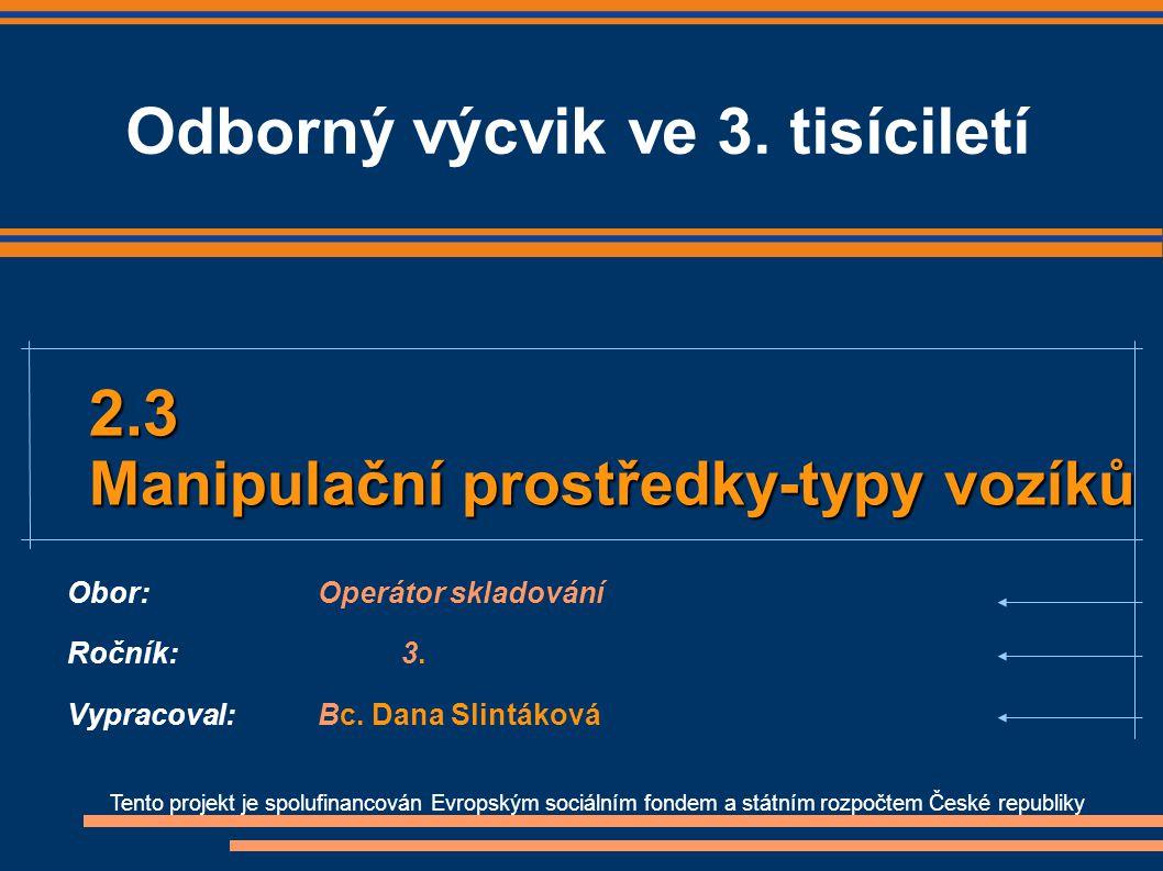 Obor: Operátor skladování Ročník: 3. Vypracoval: Bc. Dana Slintáková