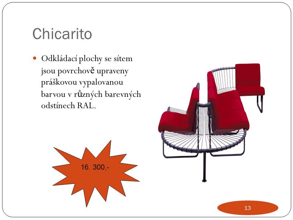 Chicarito Odkládací plochy se sítem jsou povrchově upraveny práškovou vypalovanou barvou v různých barevných odstínech RAL.