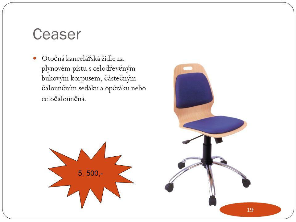 Ceaser Otočná kancelářská židle na plynovém pístu s celodřevěným bukovým korpusem, částečným čalouněním sedáku a opěráku nebo celočalouněná.