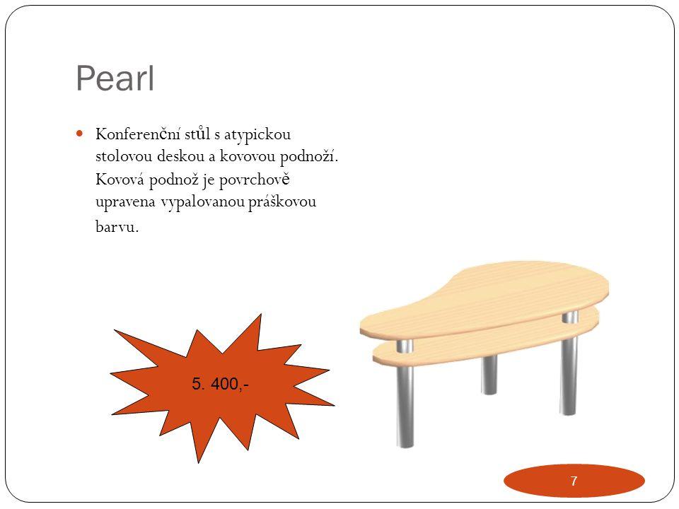 Pearl Konferenční stůl s atypickou stolovou deskou a kovovou podnoží. Kovová podnož je povrchově upravena vypalovanou práškovou barvu.
