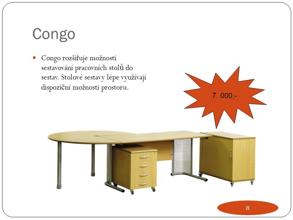 Congo Congo rozšiřuje možnosti sestavování pracovních stolů do sestav. Stolové sestavy lépe využívají dispoziční možnosti prostoru.