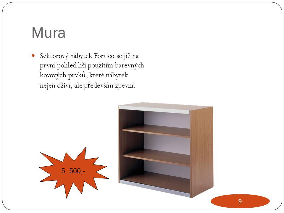 Mura Sektorový nábytek Fortico se již na první pohled liší použitím barevných kovových prvků, které nábytek nejen oživí, ale především zpevní.