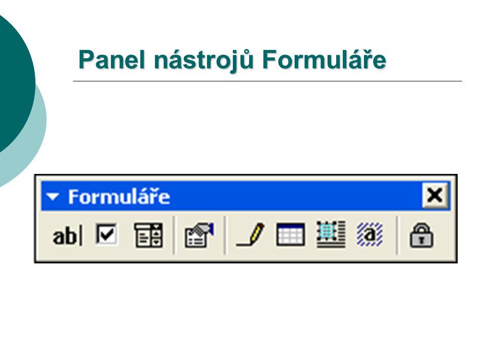 Panel nástrojů Formuláře
