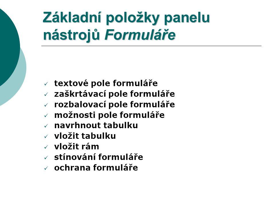 Základní položky panelu nástrojů Formuláře