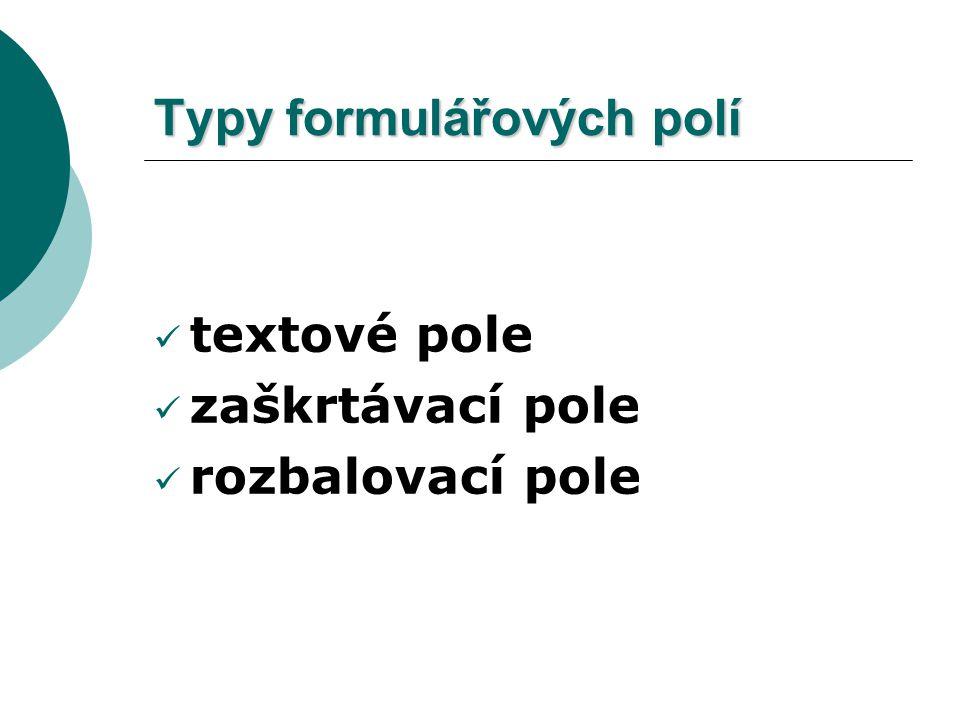 Typy formulářových polí
