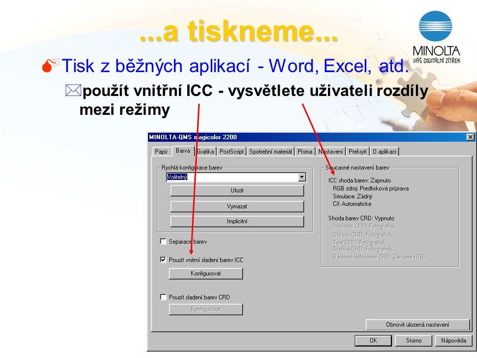 ...a tiskneme... Tisk z běžných aplikací - Word, Excel, atd.