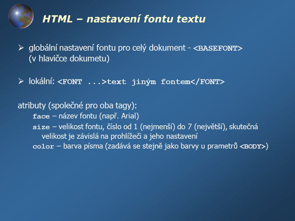 HTML – nastavení fontu textu