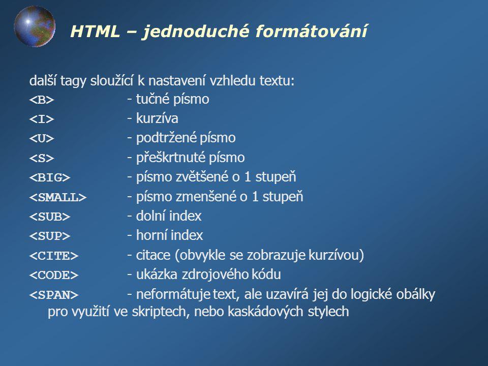 HTML – jednoduché formátování