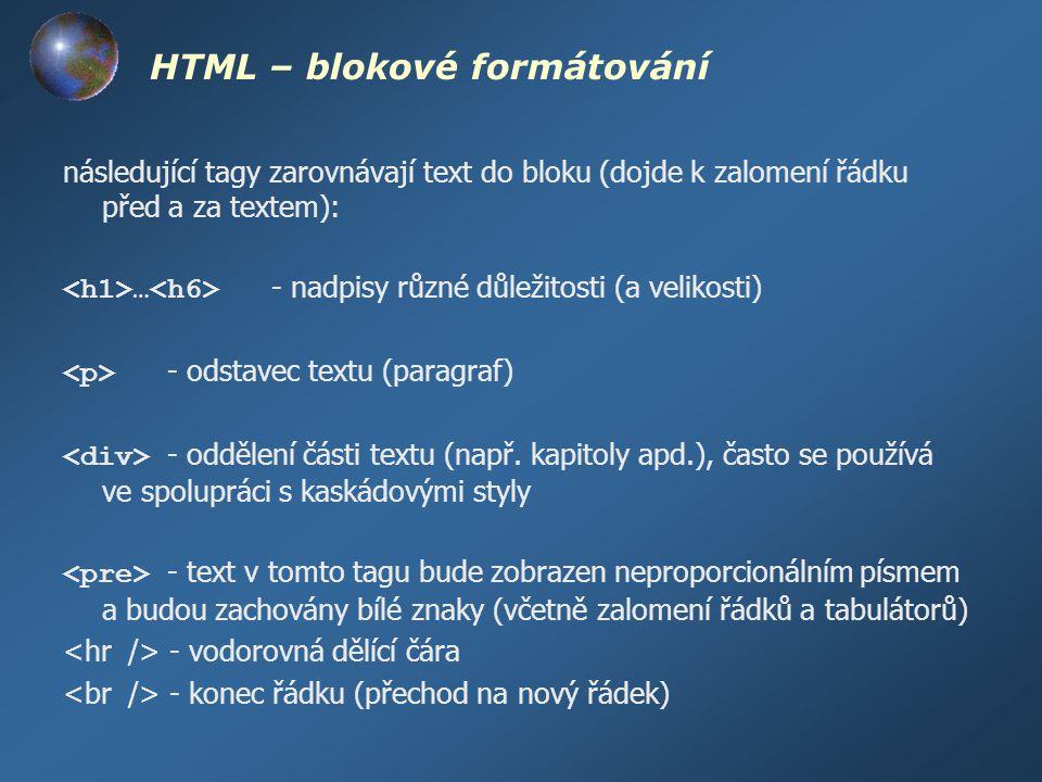 HTML – blokové formátování