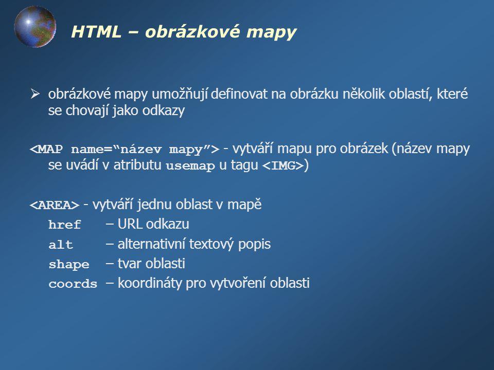 HTML – obrázkové mapy obrázkové mapy umožňují definovat na obrázku několik oblastí, které se chovají jako odkazy.