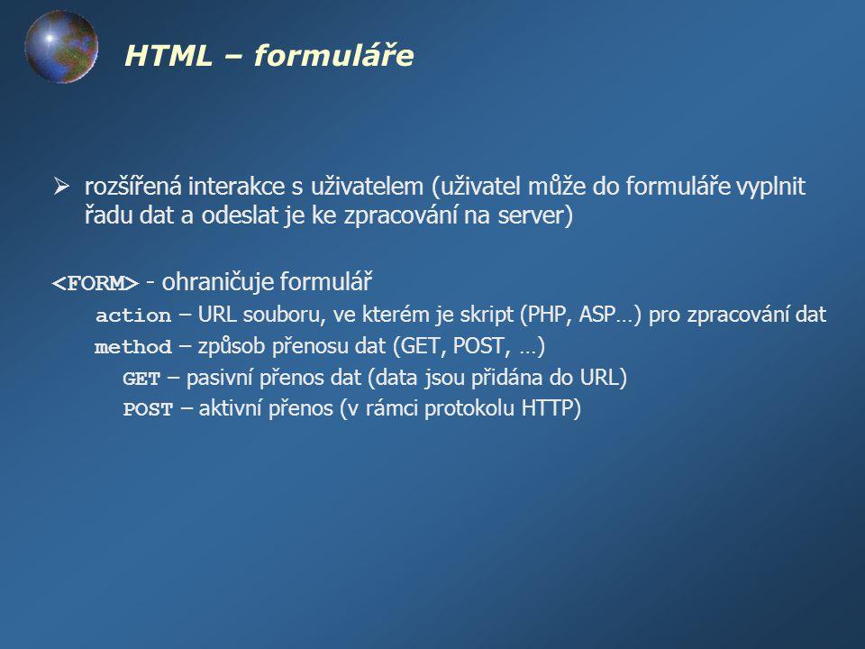 HTML – formuláře rozšířená interakce s uživatelem (uživatel může do formuláře vyplnit řadu dat a odeslat je ke zpracování na server)