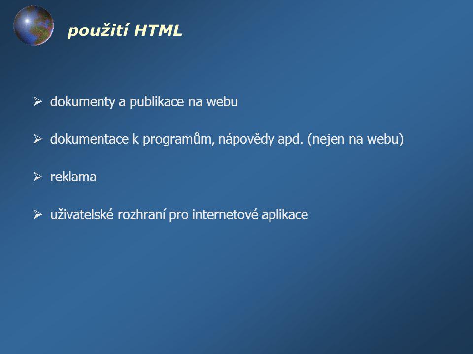 použití HTML dokumenty a publikace na webu