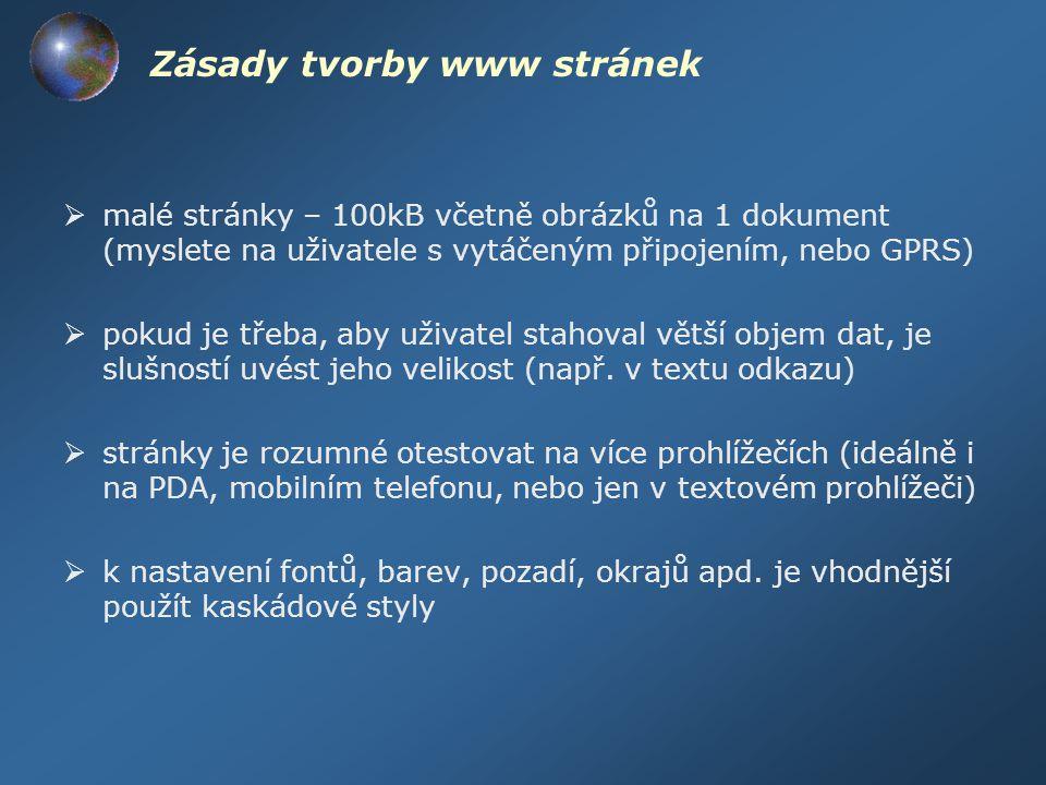 Zásady tvorby www stránek