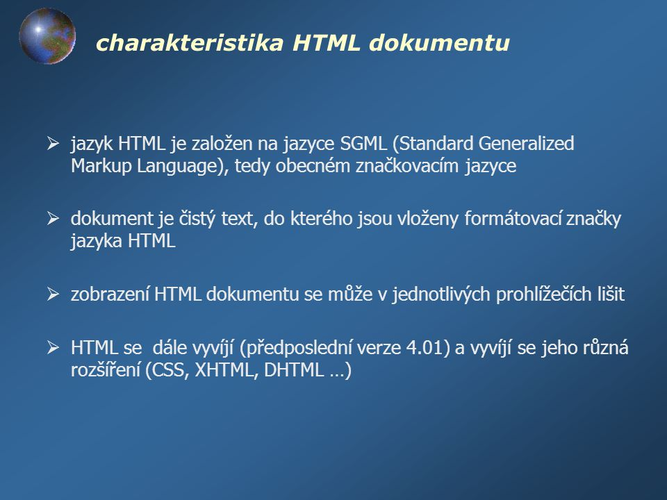 charakteristika HTML dokumentu