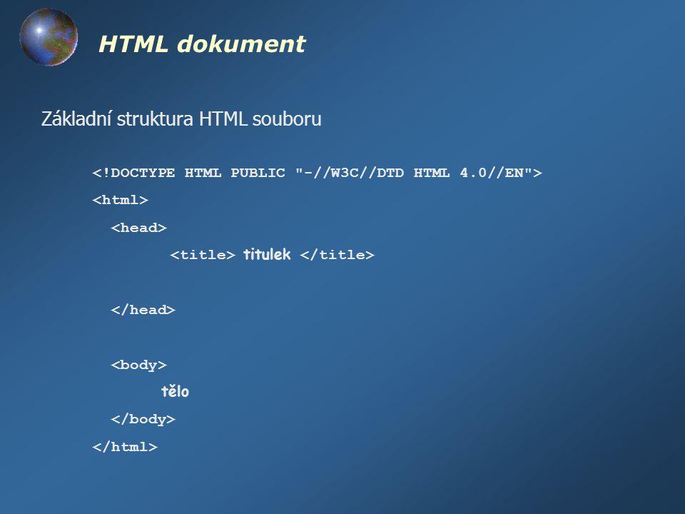 HTML dokument Základní struktura HTML souboru