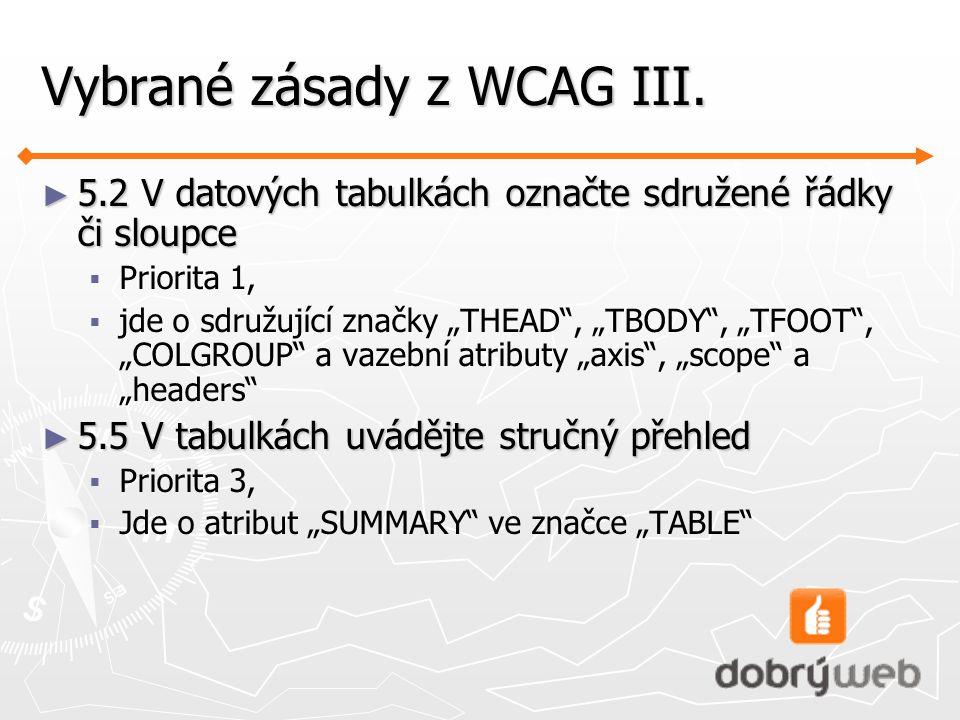 Vybrané zásady z WCAG III.