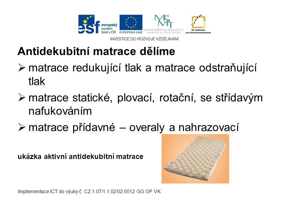 Antidekubitní matrace dělíme