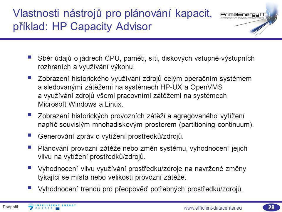 Vlastnosti nástrojů pro plánování kapacit, příklad: HP Capacity Advisor
