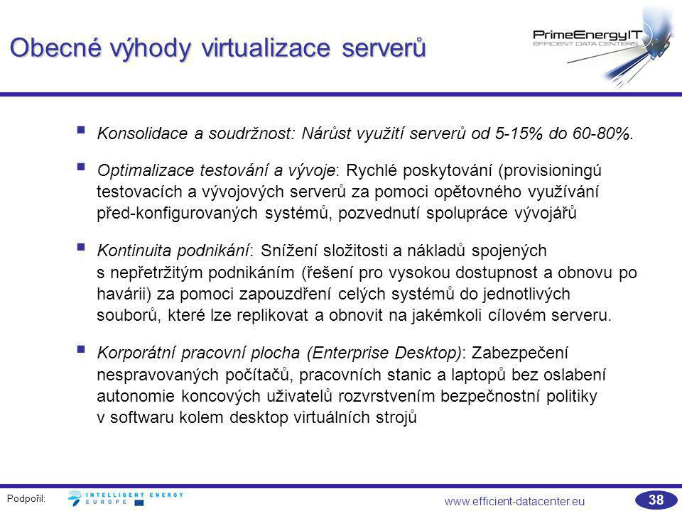 Obecné výhody virtualizace serverů