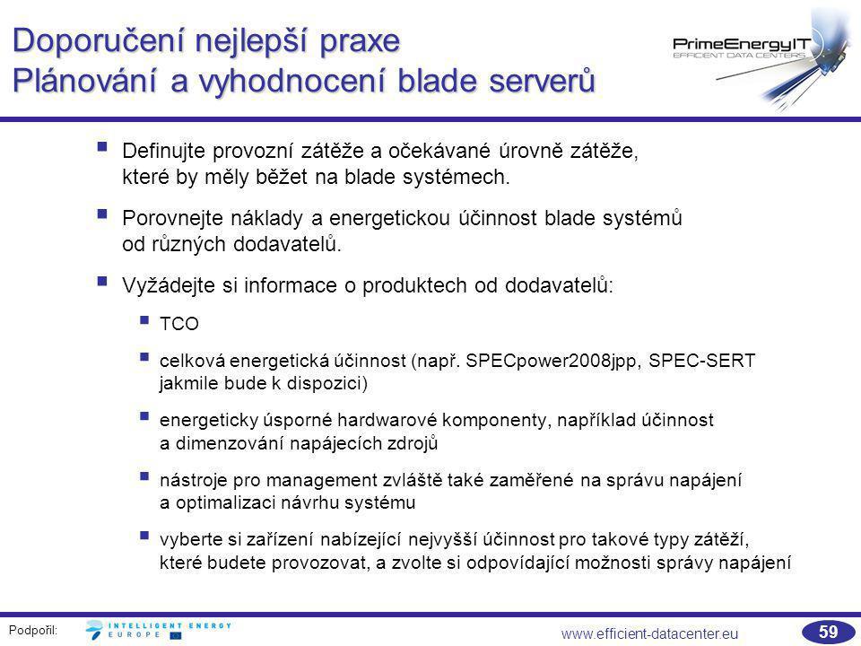Doporučení nejlepší praxe Plánování a vyhodnocení blade serverů