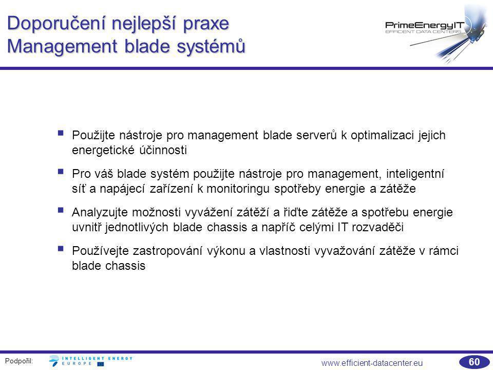 Doporučení nejlepší praxe Management blade systémů