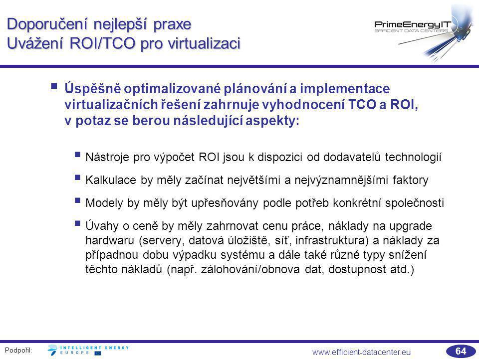 Doporučení nejlepší praxe Uvážení ROI/TCO pro virtualizaci