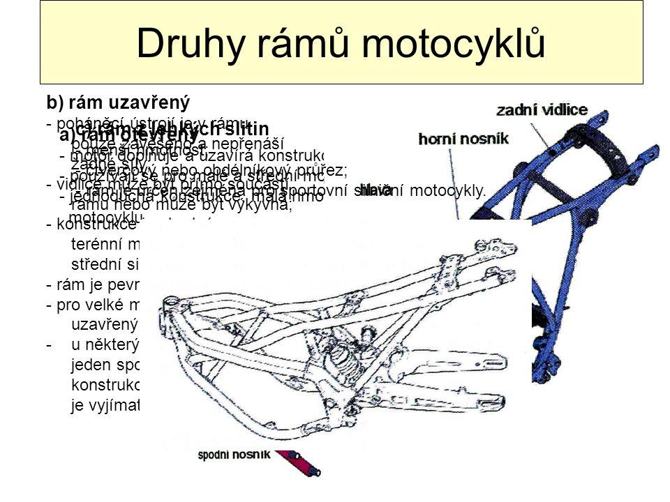 Druhy rámů motocyklů b) rám uzavřený c) rám z lehkých slitin