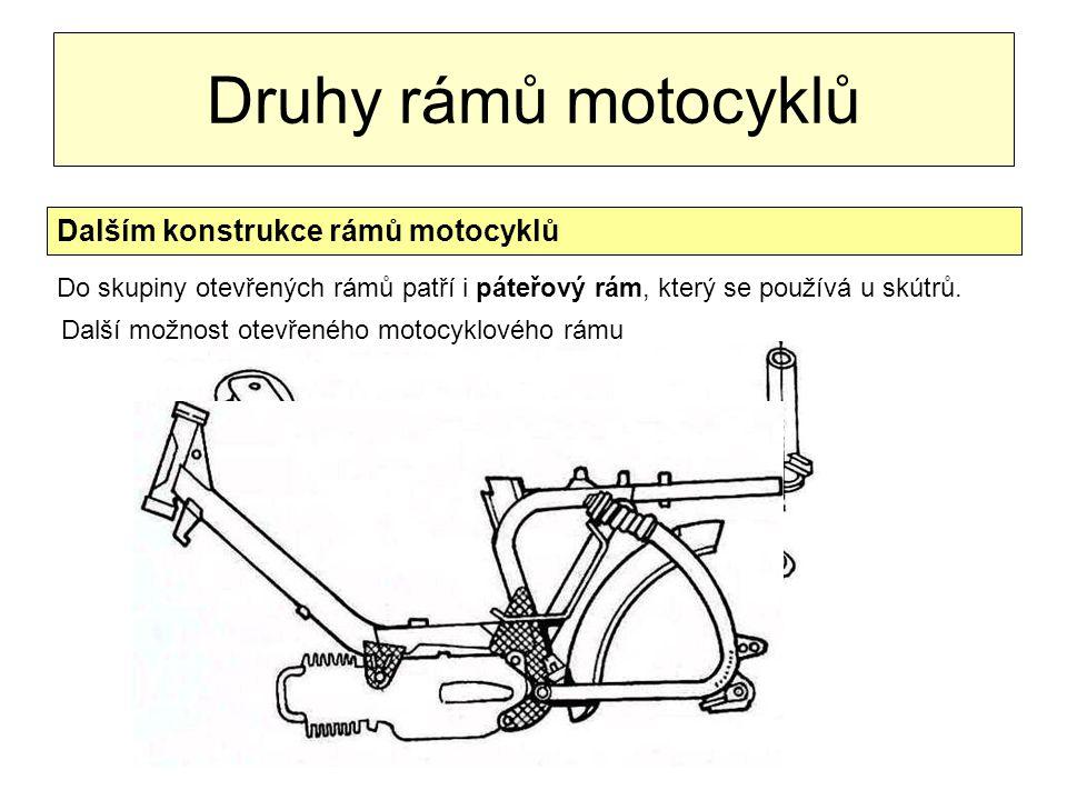 Druhy rámů motocyklů Dalším konstrukce rámů motocyklů