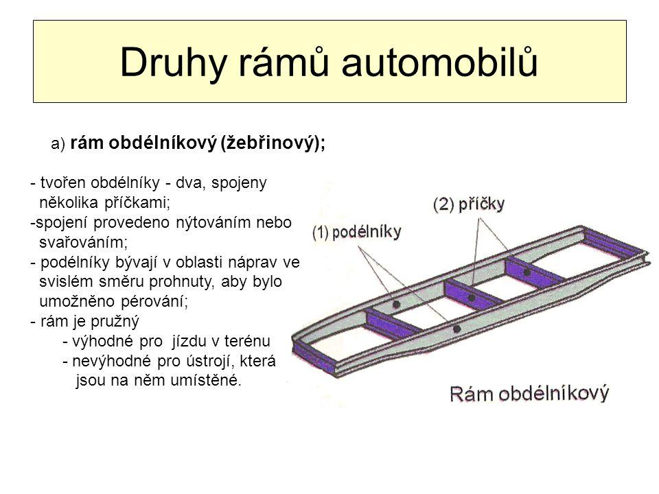 Druhy rámů automobilů a) rám obdélníkový (žebřinový);