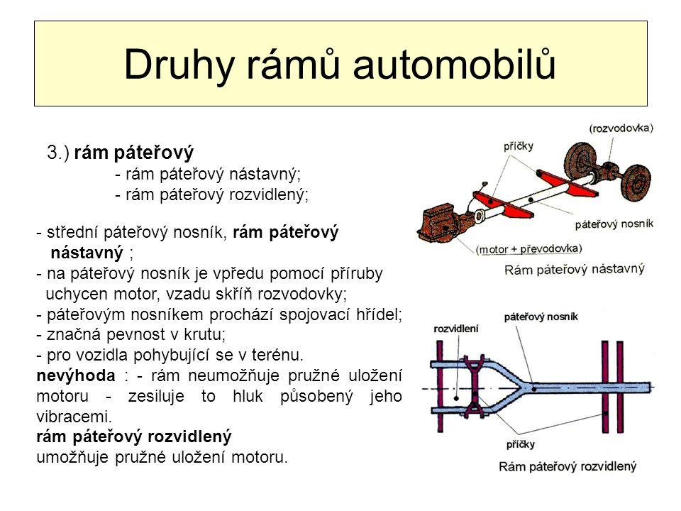 Druhy rámů automobilů 3.) rám páteřový - rám páteřový nástavný;