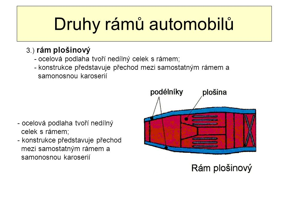 Druhy rámů automobilů 3.) rám plošinový