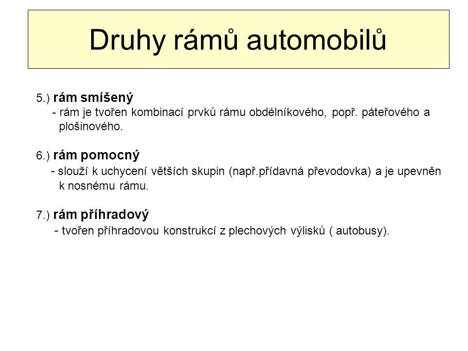 Druhy rámů automobilů 5.) rám smíšený. - rám je tvořen kombinací prvků rámu obdélníkového, popř. páteřového a.