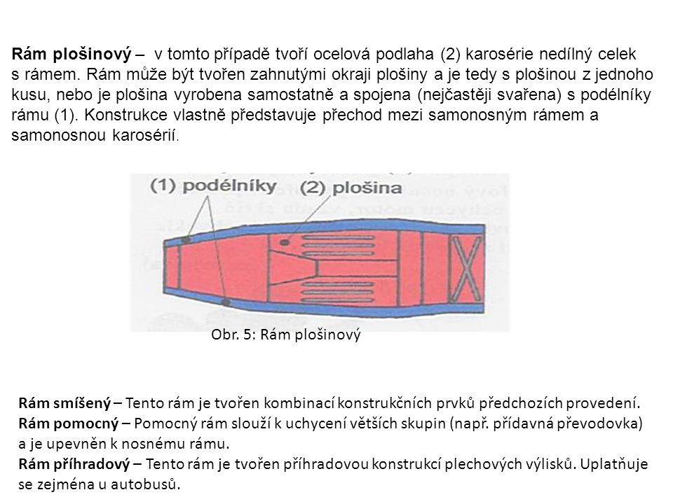 Rám plošinový – v tomto případě tvoří ocelová podlaha (2) karosérie nedílný celek s rámem. Rám může být tvořen zahnutými okraji plošiny a je tedy s plošinou z jednoho kusu, nebo je plošina vyrobena samostatně a spojena (nejčastěji svařena) s podélníky rámu (1). Konstrukce vlastně představuje přechod mezi samonosným rámem a samonosnou karosérií.