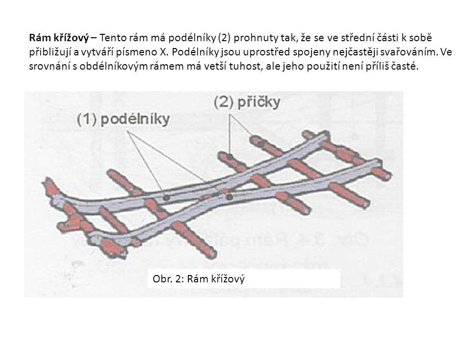 Rám křížový – Tento rám má podélníky (2) prohnuty tak, že se ve střední části k sobě přibližují a vytváří písmeno X. Podélníky jsou uprostřed spojeny nejčastěji svařováním. Ve srovnání s obdélníkovým rámem má vetší tuhost, ale jeho použití není příliš časté.