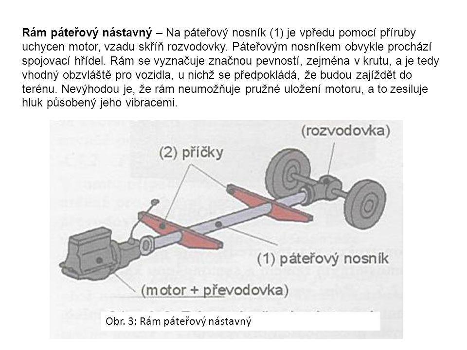 Rám páteřový nástavný – Na páteřový nosník (1) je vpředu pomocí příruby uchycen motor, vzadu skříň rozvodovky. Páteřovým nosníkem obvykle prochází spojovací hřídel. Rám se vyznačuje značnou pevností, zejména v krutu, a je tedy vhodný obzvláště pro vozidla, u nichž se předpokládá, že budou zajíždět do terénu. Nevýhodou je, že rám neumožňuje pružné uložení motoru, a to zesiluje hluk působený jeho vibracemi.