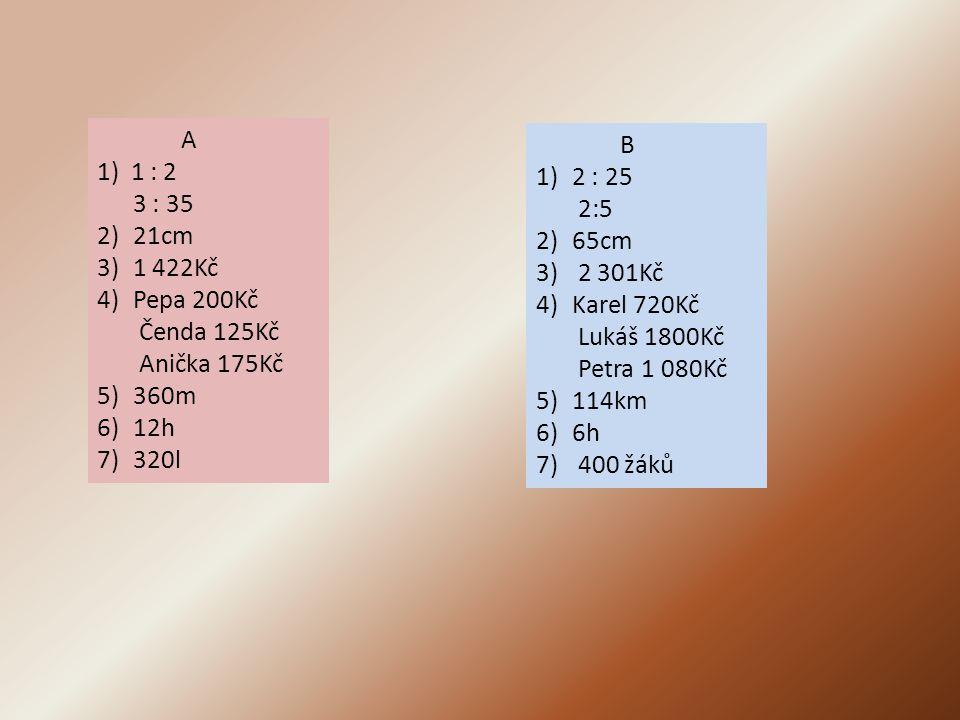 A 1) 1 : 2. 3 : 35. 21cm. 1 422Kč. Pepa 200Kč. Čenda 125Kč. Anička 175Kč. 360m. 12h. 320l.