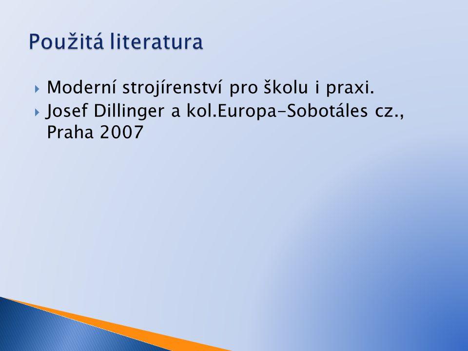 Použitá literatura Moderní strojírenství pro školu i praxi.