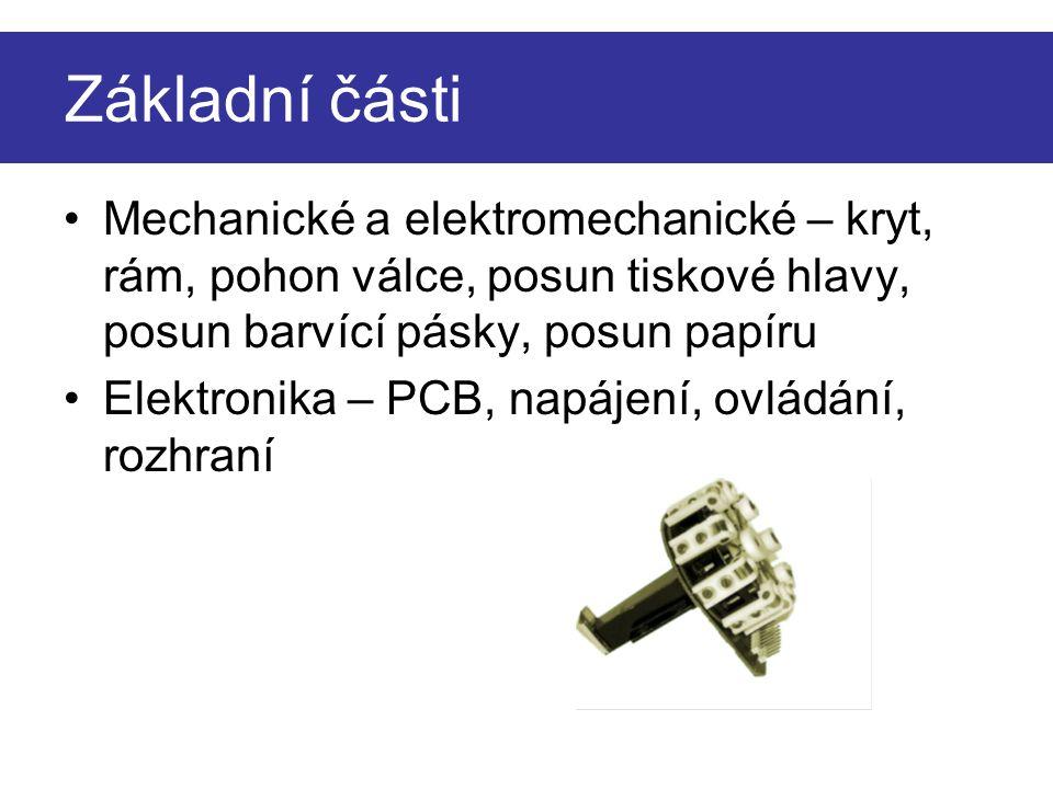 Základní části Mechanické a elektromechanické – kryt, rám, pohon válce, posun tiskové hlavy, posun barvící pásky, posun papíru.