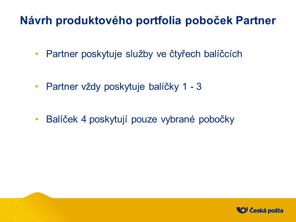 Návrh produktového portfolia poboček Partner