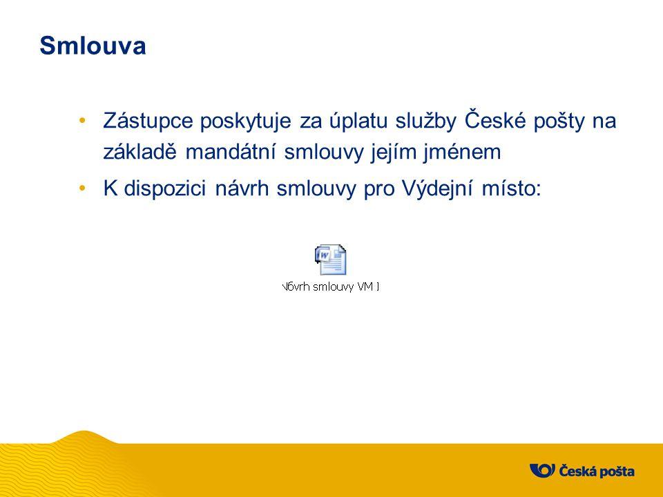 Smlouva Zástupce poskytuje za úplatu služby České pošty na základě mandátní smlouvy jejím jménem.