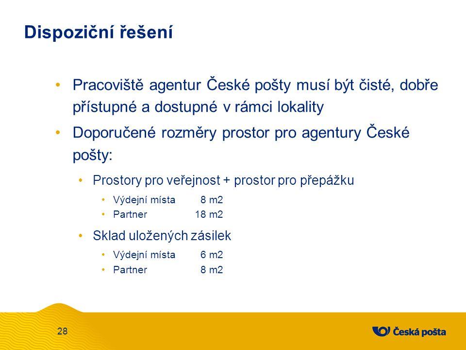 Dispoziční řešení Pracoviště agentur České pošty musí být čisté, dobře přístupné a dostupné v rámci lokality.