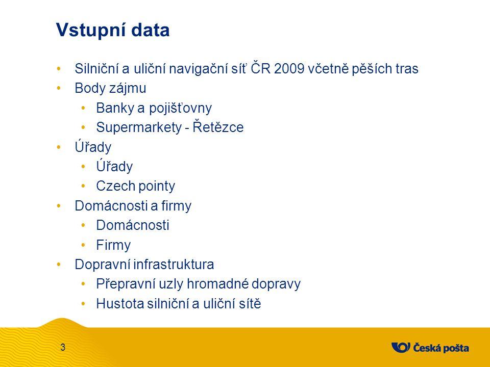 Vstupní data Silniční a uliční navigační síť ČR 2009 včetně pěších tras. Body zájmu. Banky a pojišťovny.