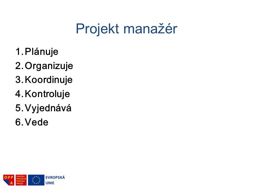 Projekt manažér 1. Plánuje 2. Organizuje 3. Koordinuje 4. Kontroluje