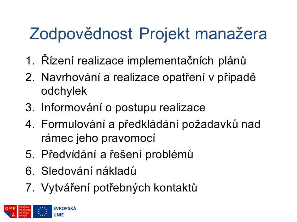 Zodpovědnost Projekt manažera