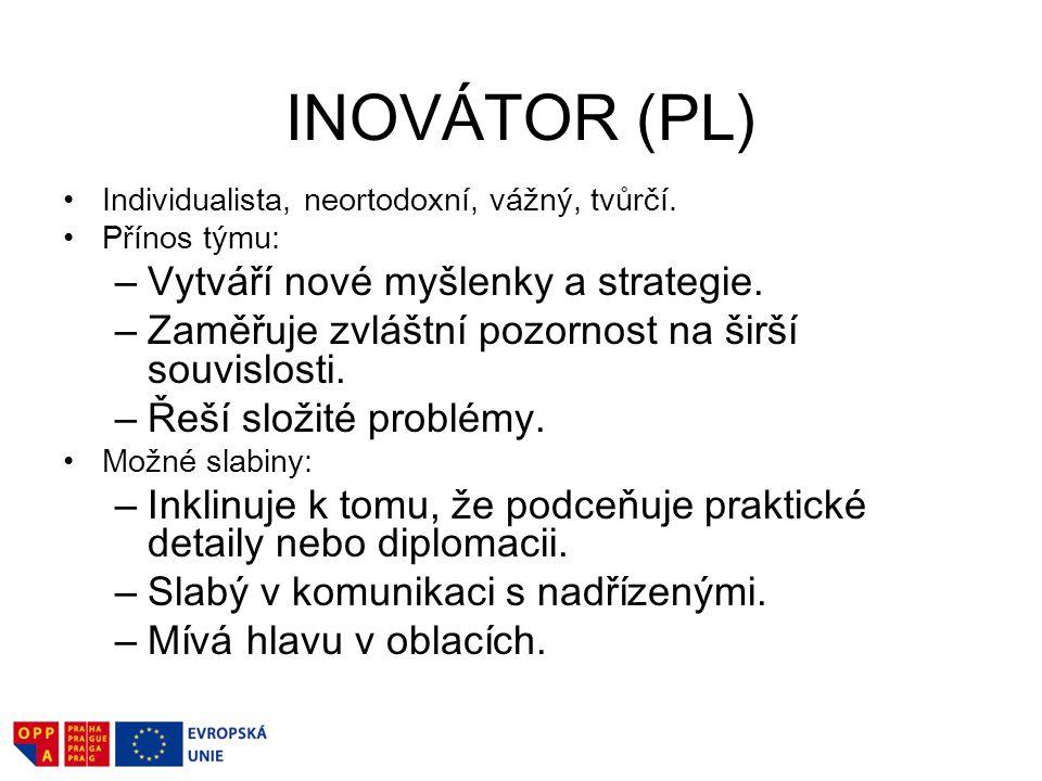 INOVÁTOR (PL) Vytváří nové myšlenky a strategie.