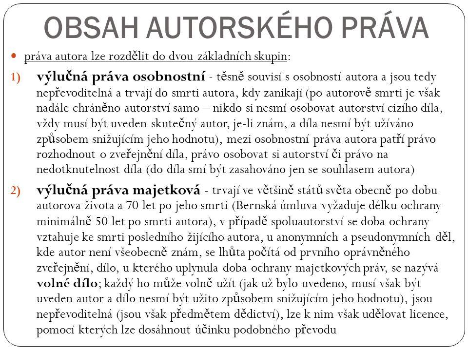 OBSAH AUTORSKÉHO PRÁVA