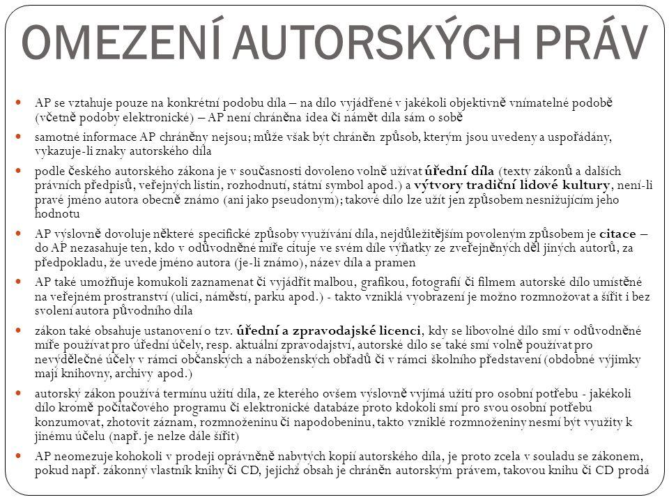 OMEZENÍ AUTORSKÝCH PRÁV